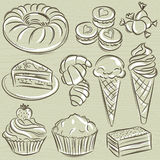 Set of different sweetmeats, vector Royalty Free Stock Photography