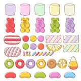 Set of different sweets. Assorted candies. Stock Photography