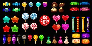 Supe set of different sweets on black background hard candies dragee jelly beans peppermint candy. Vector illustration,. Set of different sweets on black vector illustration