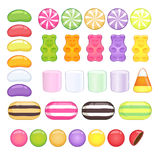 Set of different sweets. Glossy candies. Stock Image