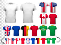 Set of different T-shirts with prints of world flags. Royalty Free Stock Photography
