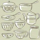 Set of different tableware, vector. Illustration royalty free illustration