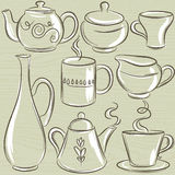 Set of different  tableware, vector Royalty Free Stock Photo