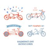 Set of different tandem bicycle postcards Stock Photos