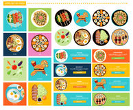 Set of Different Tasty Dishes Flat Stock Image