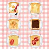 Set of different tasty toasts. Royalty Free Stock Images