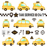 Set of Different Taxi Cars and Taxi Signs Stock Photo