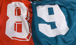 Set of different team uniforms. Photo of the different team uniforms eight and nine Royalty Free Stock Photo