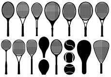Set of different tennis rackets Stock Image
