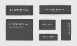 Set of different textile tags. Collection of narrow, wide, large, small, vertical, horizontal labels for clothes. Vector. Black sticker with place for text Stock Photography
