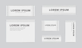 Set of different textile tags. Collection of narrow, wide, large, small, vertical, horizontal labels for clothes. Vector. White sticker with place for text Stock Photo