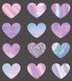 Set of different texture hearts Royalty Free Stock Photo