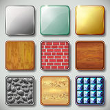 Set of different textured apps icons vector Royalty Free Stock Images
