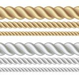 Set of different thickness ropes Stock Images