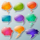 Set of different thought cloud eleven colorful objects stock illustration