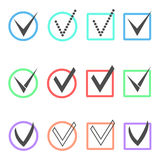 Set of different ticks in colored boxes and circles. Concept of confirmation acceptance positive voting agreement or completion of tasks on a list. isolated on Stock Photography