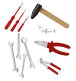 Set of different tools stock illustration