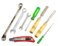 Set of different tools. Isolated on white background Stock Photo