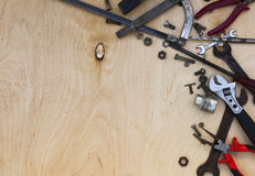Set of different tools on wooden Stock Photo