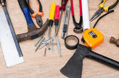 Set of different tools for work on wood background Stock Images