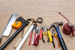 Set of different tools for work on wood background Stock Photography