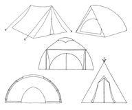 Set of different tourist tents. Hand drawn  illustration of a sketch style Royalty Free Stock Photo