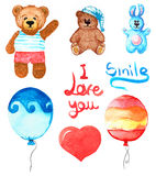Set of different toys. Bear, rabbit, balloons. Lettering smile and I love you. Hand draw watercolor. Stock Photos