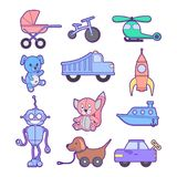 Cute kids toys set of different toys for boys and girls isolated. Include blocks, dog, baby carriage, bike, rocket, cars, boat, he. Set of different toys for Royalty Free Stock Photography