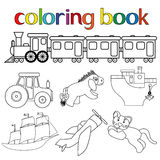 Set of different toys for coloring book. With train with wagons, tractor, donkey, boat, sailboat, airplane and cat, cartoon vector illustration stock illustration