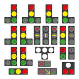 Set of different traffic lights isolated on white. Royalty Free Stock Image