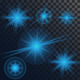 Set of different transparent glow light effects. Star burst with sparkles.  Stock Image