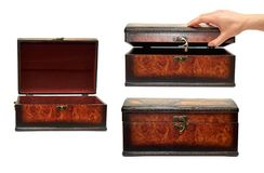 Set of different treasure chest with hand. Isolated on white background.  Royalty Free Stock Images