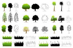 Set of Different Tree Stock Photography