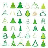 Set of 36 different trees Royalty Free Stock Photography