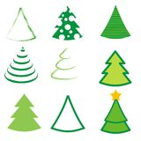 Set of 36 different trees Stock Images