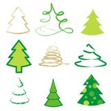 Set of 9 different trees. Set of 9 different abstract trees Royalty Free Stock Images