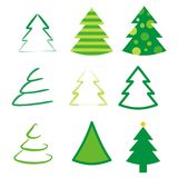Set of 9 different trees. Set of 9 different abstract trees Stock Photography
