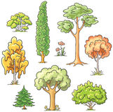 Set of different trees Stock Photos