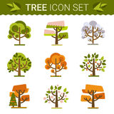Set of different trees, rocks, grass. Sprites for the game. vector flat forests illustrations Stock Photography