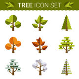 Set of different trees, rocks, grass. Sprites for the game. vector flat forests illustrations Royalty Free Stock Images