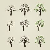 Set of different trees silhouette with roots and Royalty Free Stock Images