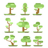 Set of different trees. Sprites for the game. vector flat forests illustrations  on white background. Royalty Free Stock Photos