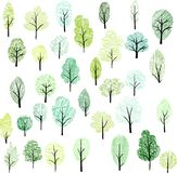 Set of different trees Royalty Free Stock Photo