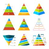 Set of different triangles and pyramids with levels. Vector symbols for infographic Stock Photos