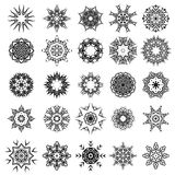 Set of Different Tribal Rosette Tattoo Design. On White Background. Polynesian Design Royalty Free Stock Photography