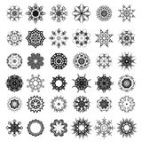 Set of Different Tribal Rosettes Tattoo Design. Isolated on White Background. Polynesian Design Royalty Free Stock Images