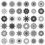 Set of Different Tribal Rosettes Tattoo Design. Isolated on White Background. Polynesian Design Stock Photo