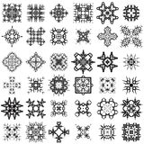 Set of Different Tribal Rosettes Tattoo Design. Isolated on White Background. Polynesian Design Stock Image