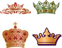 Set of different type monarch crowns for king and queen, prince. And princes. Vector Royalty Free Stock Photos