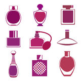 Set of different type of perfume bottles Stock Image